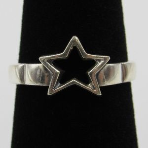 Vintage Size 6.25 Sterling Rustic Star Cut Ring